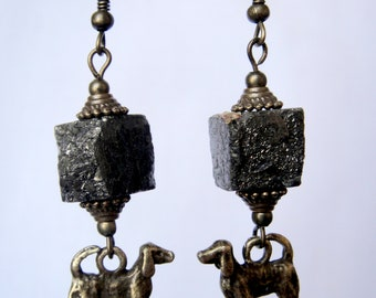 Dogs earrings from  Raw Pyrite and antique brass for woman