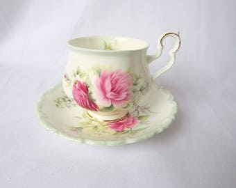 Vintage Royal Albert, Bone China England, ''Memories'' Porcelain Cup and Saucer