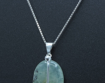 925 prehnite and silver pendant, exclusive and handmade design.