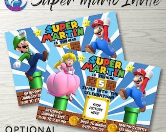 Super Mario Invitation, Super Mario Invite, Super Mario Party Invitation, Super Mario Birthday, Princess Peach Invitation, Mario and Luigi