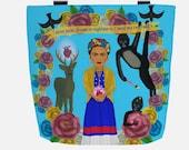 Blue Frida Kahlo Tribute Tote Bag with Roses, Monkeys, Birds, Deer, and Hearts