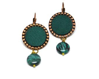 Dangling copper earrings with green zebra chalcedony, green vintage silk fabric