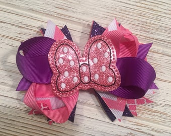 Pink and Purple Minnie Mouse hair bow, Minnie hair bow, Minnie hairbow, Minnie hair clip, Disney hair bow, Disney hairbow, Disney hair clip