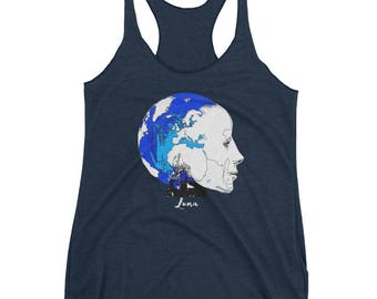 Luna Techno-globalism Women's Triblend Racerback Tank by Robots Without Borders