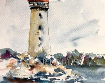 Painting watercolor,Aquarelle,Painting seascape,art collection,Bretagne,Painting,Boat,free shipping,livraison gratuite,Art,Summer,Aquarelles