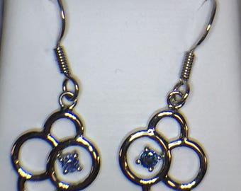 Sterling Silver Yogo Sapphire Dangle Earrings, Yogo Sapphire Earrings