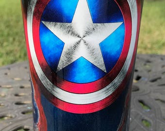 Captain America's Shield Painted Ozark Trail Cup