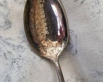 1889 Edinburgh Hallmarked Silver Spoon With Thistle End,  Engraved Edinburgh RARE