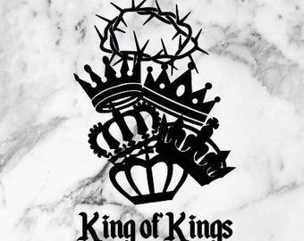 King of Kings Vinyl Decal, christian decal, window decal, car decal, yeti decal, God, King