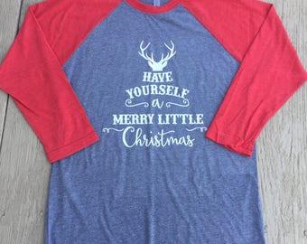 Women's 3/4 sleeve Raglan Christmas Shirt