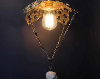 Handmade Brass and crow skull ,hanging lamp