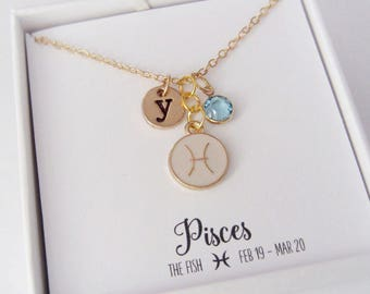 Zodiac Necklace - Pisces Necklace - Pisces Jewelry - Horoscope Gifts - Gold and Pink Jewelry - Personalized Monogram Initial and Birthstone