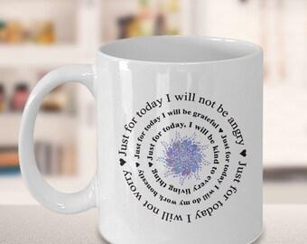 Just for Today Reiki Gift, 5 Principles of Reiki Gift Coffee Mug,  Positive Mantra Novelty Coffee Mug Gift