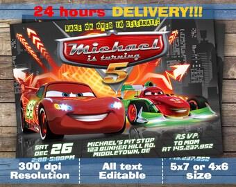Cars 3 Birthday invitation, Cars 3 Storm, Lightning Mcqueen Printables, New Cars Movie, Printable Invitations, Cars Race Invites, Cars