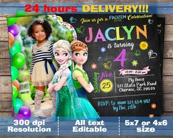 Frozen Invitation, Frozen Birthday Invitation, Frozen Fever Invitation, Elsa Anna Party Invites, Frozen. Digital file