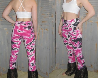 Bohemian Yoga Pants with Lace, Ruffles, Lace, Festival Pants, Gypsy, Hippie