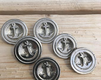 Vintage Metal Anchor Buttons