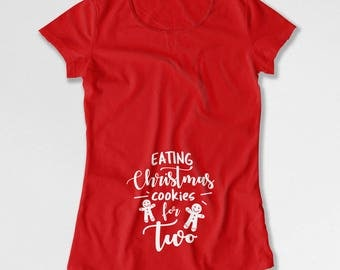 Christmas Pregnancy T Shirt Maternity Announcement Baby Reveal Expecting Mothers Gift For Pregnant Women Mommy To Be New Mommy TEP-582