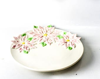 Pink Flowers - Poinsettia - Round Ceramic Serving Plate