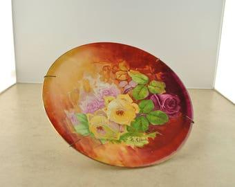 Vintage Decorative Floral Plate - Royal Art Italian - Hand Painted - E. Laport
