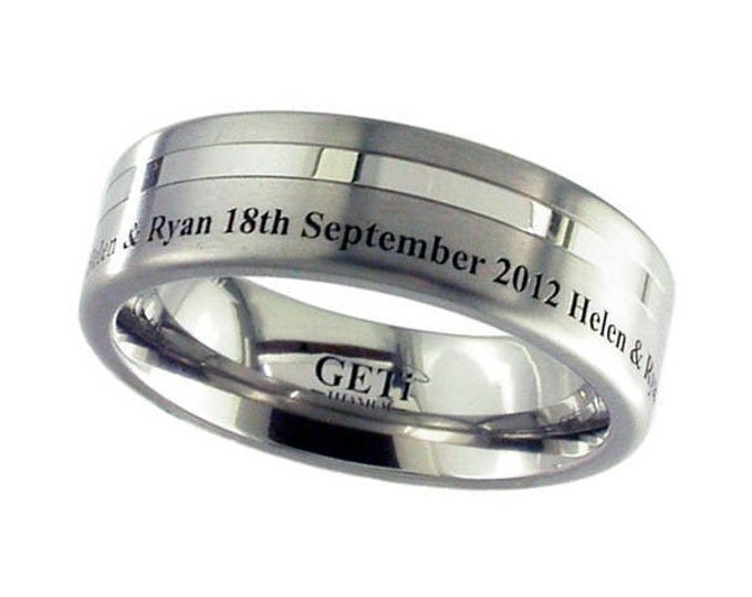 Titanium Wedding Ring With Polished Stripe & Outside Engraving - Made to Order - FREE ENGRAVING