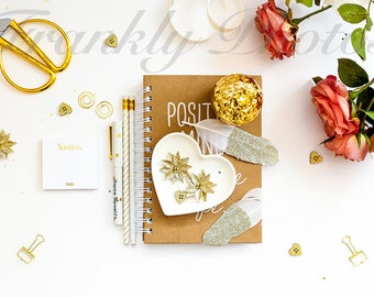 Peach & Gold Desk Styled Stock Photo / Styled Stock Photography / Styled Desktop / Lifestyle Stock Image / Flatlay / Frankly Photos File #4