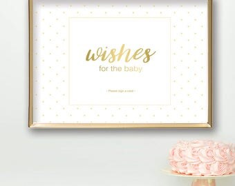 Baby Shower Sign PRINTABLE | Wishes for the Baby Cards