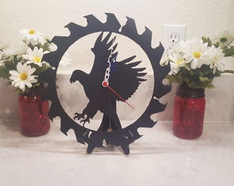 """Flying Eagle Steel Wall Clock 12"""" Red, White, and Blue Patriotic Metal Wall Art"""