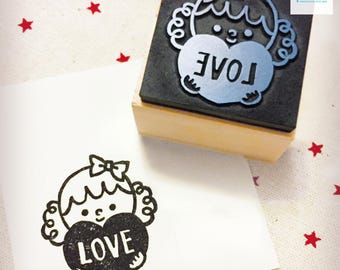 Hand Carved Girl with Love Rubber Stamp