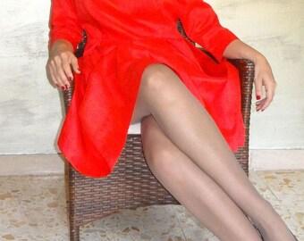 Red dress/Shantung silk dress/Natural Fiber dress