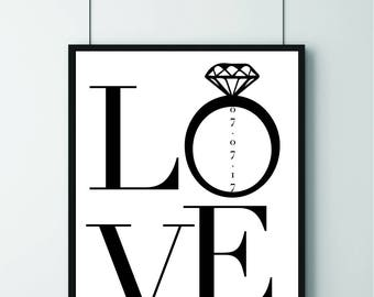 Wedding/Engagement/Marriage/Love Dated Print