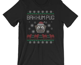Ba Hum Pug T-Shirt Pug Ugly Christmas Sweater UNISEX Shirt Gift for Dog Lover