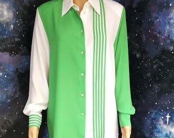 VINTAGE 1990s JACQUES VERT Grungy Colour Block Geometric Green & White Medium