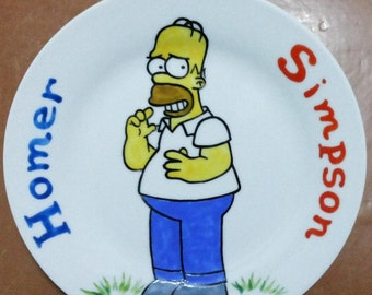 Handmade plate with Homer Simpson. The Simpsons!
