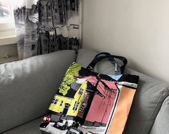 New Handmade Large Tote Bag, Printed Beach Bag, Funky Bag with City Print, Finnish Design
