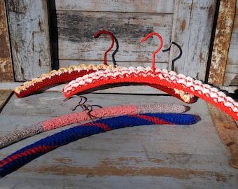 60s coat hanger Crochet-4 pieces-Original vintage-very original