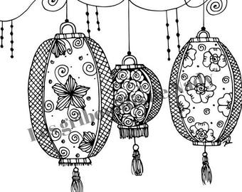 Mandala Lanternes chinoises à colorier et à imprimer vous-même - mandala - zentangle - anti-stress - lanterne - coloriage - détente -