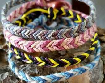 Chevron Hemp bracelet, Choose your colors