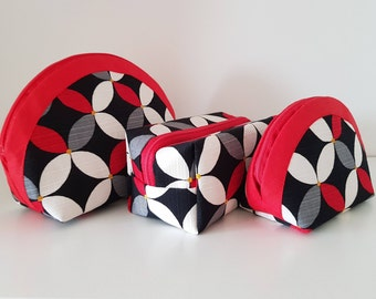 Red white kawung pouch set, toiletries set, birthday giftset, etui, smartphone wallet, coin purse, zipper pouch