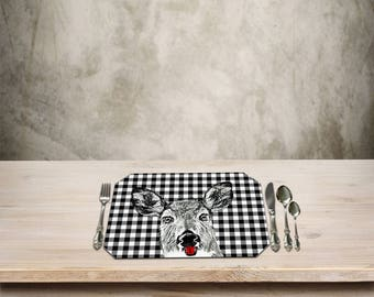 Deer Placemat,Rustic Table Place mat,Deer,Doe,Deer Kitchen Decor,Checker Pattern, Add a Fun Rustic Cottage Touch to your Kitchen Table.