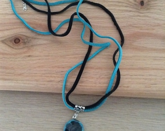 Black Agate Pendant with 925 Sterling Silver Bale