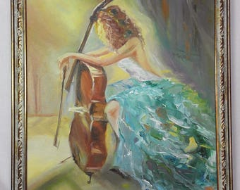 Oil painting A cellist on canvas