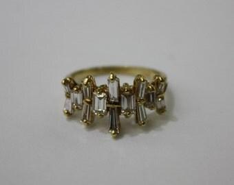 Italian diamond ring , 18 k yellow gold , size 4, 1.2 ct, 3.8 gr .