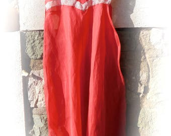 Red silk organza  bridal trousseau, long nightgown with pants and matching short slip