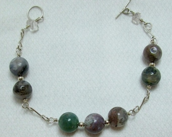 Sterling Silver and Moss Agate Bracelet