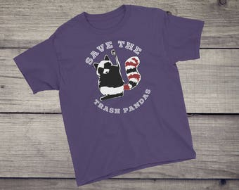 Save the trash pandas T-Shirt cute funny raccoon animal tee tshirt Kids Children Boys Girls Youth Short Sleeve T-Shirt funny sayings gift