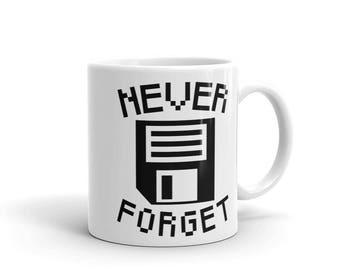 "Never forget floppy disk 3.5"" diskette Mug nerd mug geek mug computer 1980s 80s retro video games gift for him gift for her gift for coder"