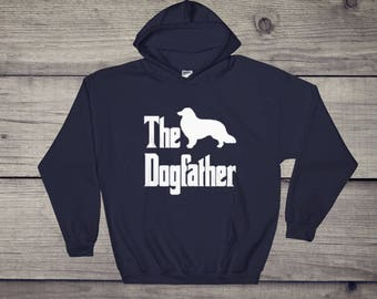 The Dogfather hooded sweatshirt, Collie silhouette, funny dog gift hoodie, The Godfather parody, dog lover sweater, dog gift