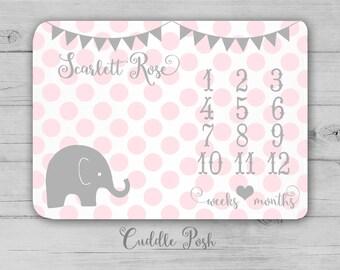 MILESTONE Baby Blanket, ELEPHANT Milestone Blanket, Baby Girl Photography Backdrop, Elephant Nursery Decor, Newborn Girl Shower Gift