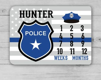 POLICE Milestone Blanket, Month Growth Chart, Police Baby Blanket, Custom Personalized Baby Boy Shower Gift, Police Newborn Gift